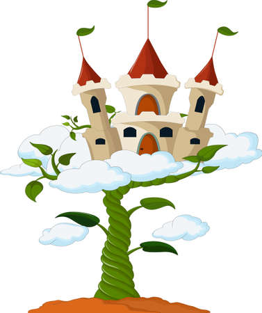 adventure story: Bean sprout with castle in the clouds cartoon