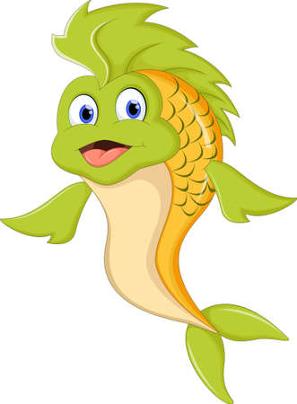 trigger fish: Cute cartoon green fish
