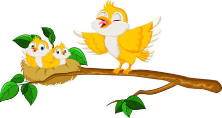 birdsong: Birds with her two babies in the nest Illustration