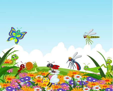 collection of insects in the flower garden Vettoriali