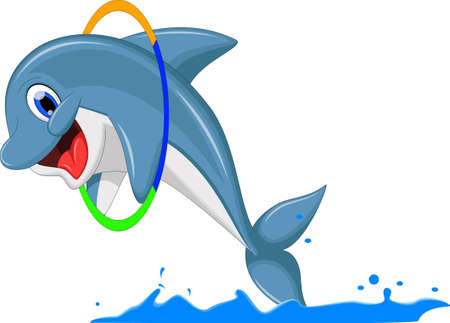 dolphins: Cute dolphin cartoon jumping