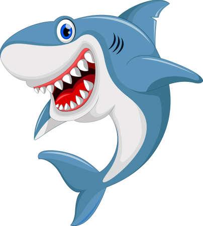 angry shark cartoon Illustration