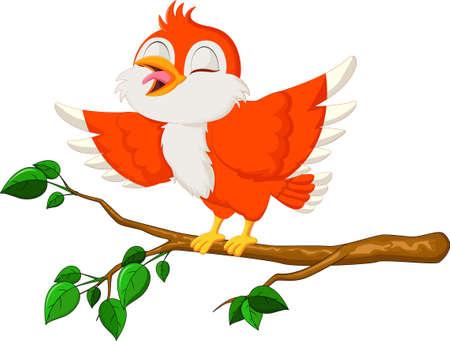 Cute Bird Cartoon Singing in the branch
