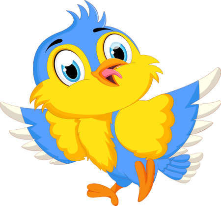 Cute Bird Cartoon isolated on white background