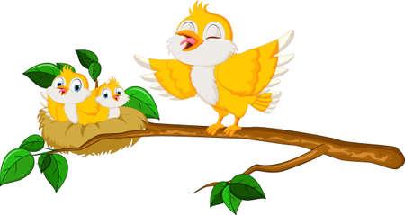 Happy Family Bird Cartoon isolated on white background Ilustração