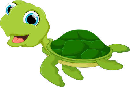 Funny Sea Turtle Cartoon isolated on white background