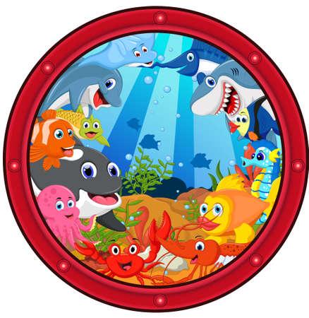 sea life cartoon set Illustration