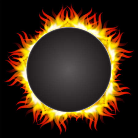 flamboyant: illustration of fire flame in circular frame Illustration