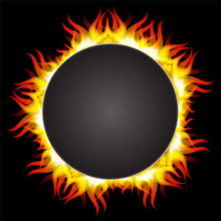 illustration of fire flame in circular frame Illustration