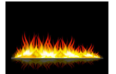 detonation: Raster version. Walls of fire in mirror reflection with blank space between them Illustration