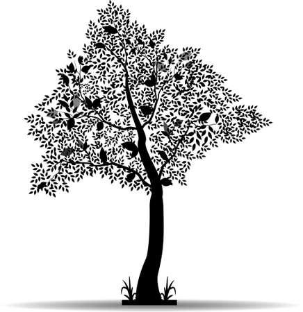 lovebird: black tree silhouette for your design
