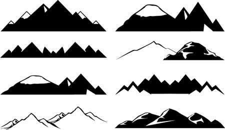 snow capped: Mountain icons set
