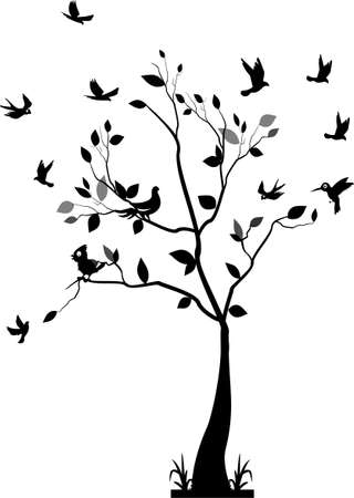 lovebird: tree silhouette with birds flying and bird in a cage