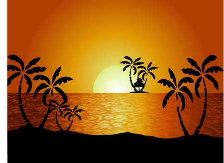 view wallpaper: Summer holidays background. Sunset View Poster. Vector beach resort wallpaper.