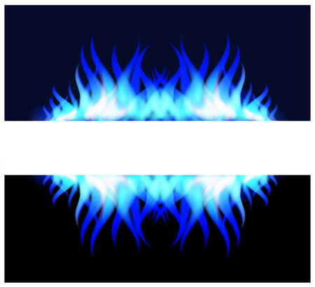 blue flame: Blue fire flame with blank sign