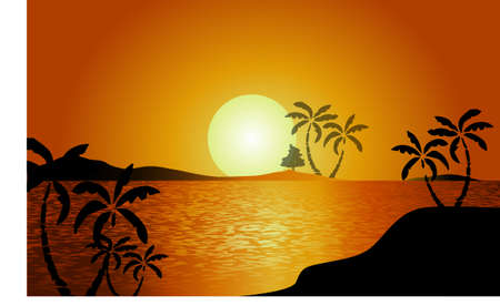 Tropical landscape, sea islands with palm trees, flowers, mountain, clouds, sun and birds gulls, black silhouettes on red - yellow background. Illustration