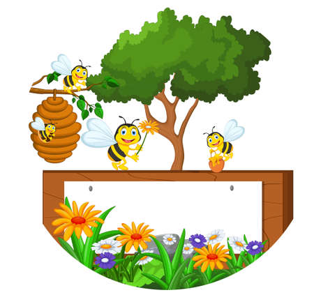 beehive: Bees cartoon holding flower and a beehive