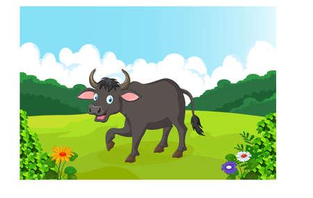 artful: cute cartoon buffalo