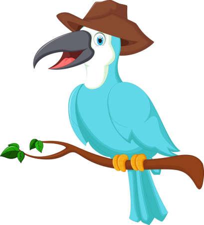 Cute toucan bird blue cartoon