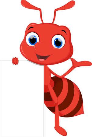 hormiga caricatura: de dibujos animados hormiga linda con la muestra en blanco
