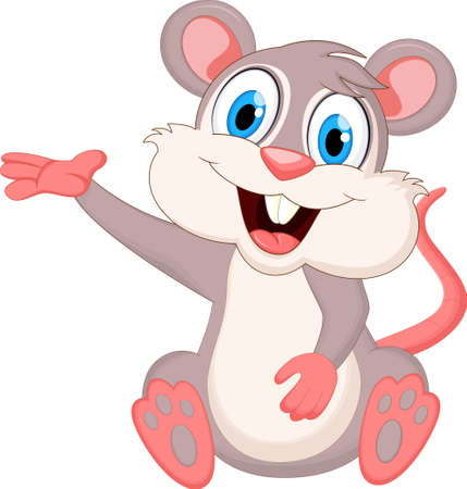 Cute Mouse Cartoon Sitting For you design