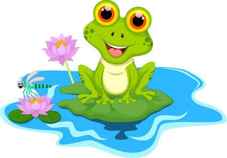 Green frog sitting on a leaf Illustration