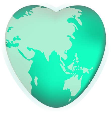 similar: A world globe in the shape of a heart symbol. Concept for loving travel, or loving the world and caring for the environment or similar