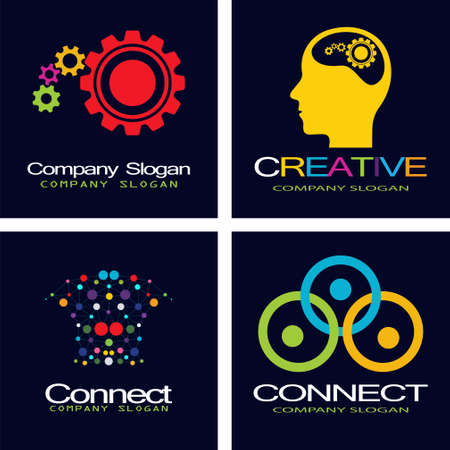 linking: People connect . Connection idea template. Illustration