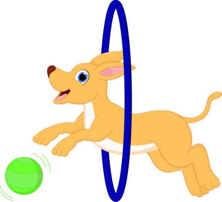 saliva: Cute Dog Cartoon Play ball Illustration