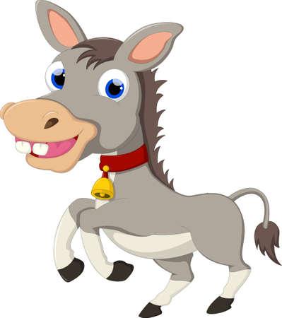 domesticated: Donkey Cartoon Running Illustration