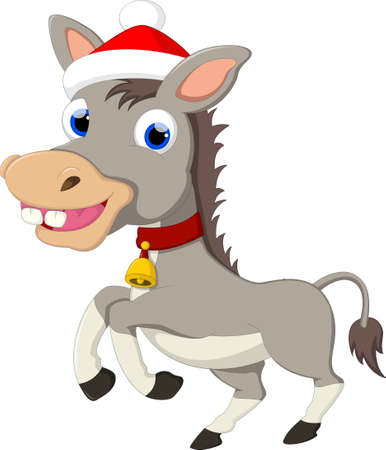 horse laugh: Funny Donkey Cartoon with Hat