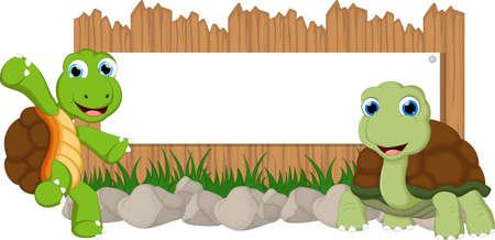 Lustige Schildkröte Cartoon mit leeren Zeichen Standard-Bild - 60553453