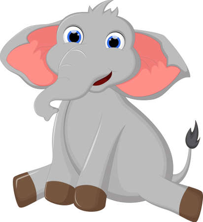 Cartoon elephant sitting