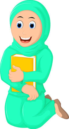 jab: Smile Muslim Woman with Hugging a Book
