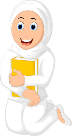 felicitation: smile Muslim Woman with Hugging a Book Wearing white Veil