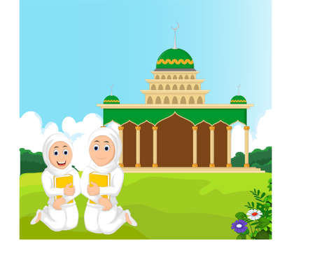 jab: Two Muslim Woman with Hugging a Book with mosque bacground