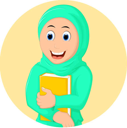 jab: Muslim Woman with Hugging a Book
