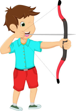 pointed arrows: young man playing archery on a white background