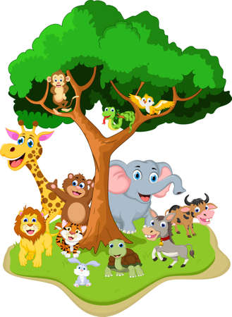 Animal cartoon with forest background Illustration