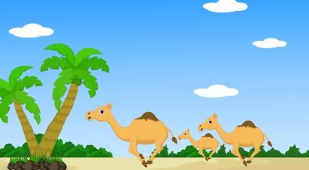 Cartoon camel with desert landscape background