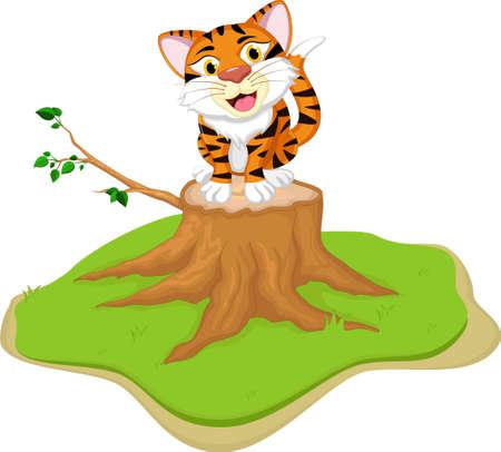 tree stump: cartoon tiger on tree stump Illustration