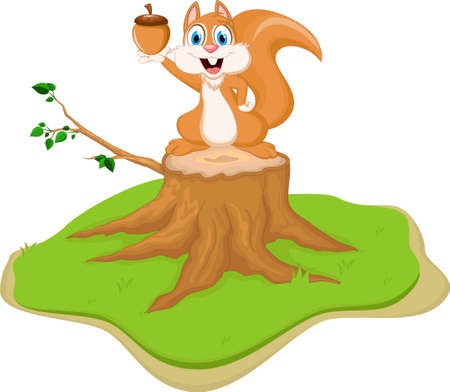downy: Cute squirrel cartoon with holding nut tree stump Illustration
