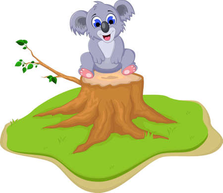 Cute koala cartoon on tree stump