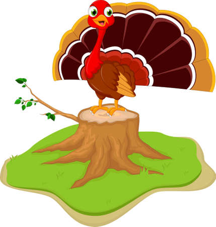 fowls: Cute turkey cartoon on tree stump Illustration