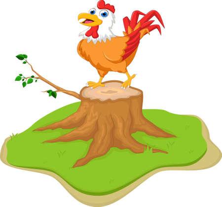 hen cartoon on tree stump