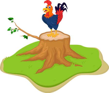 tree stump: Cartoon Rooster Posing on Tree Stump Illustration