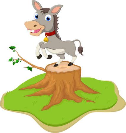 Presentación linda de la historieta del burro en tocón de árbol