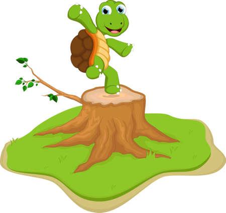tree stump: turtle cartoon on tree stump
