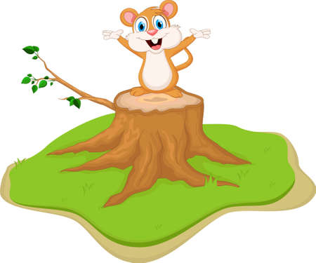 child laughing: mouse cartoon on tree stump