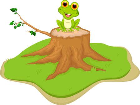 lily pad: green frog cartoon sitting on tree stump Illustration
